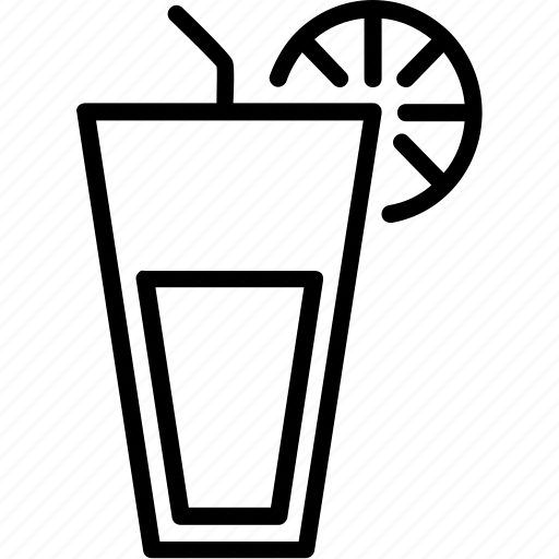 drink, food, juice, line, orange juice icon