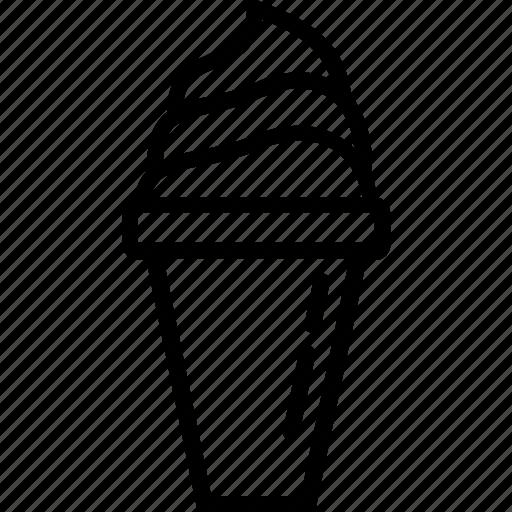 eating, food, ice cream, ice cream cup, line icon