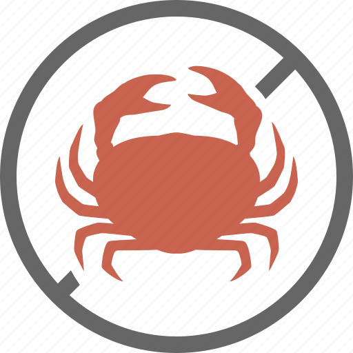 crab, crustacean, dietary, food, free, label, seafood icon