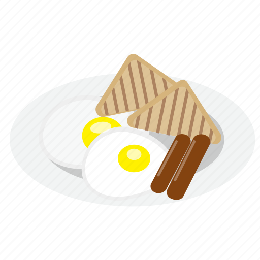 breakfast, french toast, fried eggs, sausages icon
