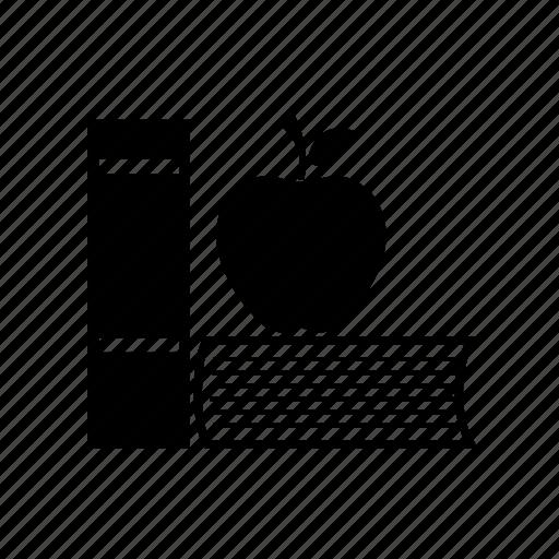 apple, apple and books, books, refreshment, study, study refreshment icon