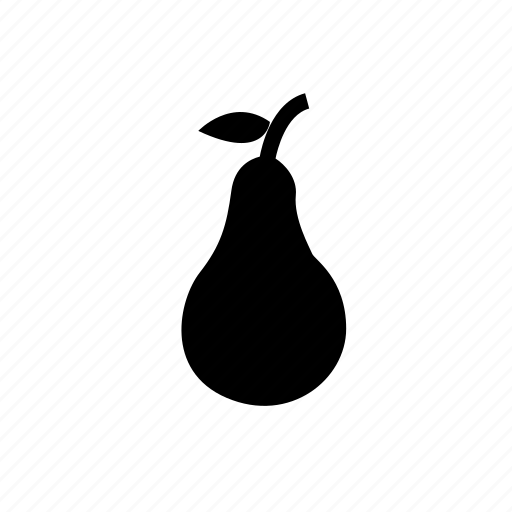 fresh pear, fruit, pear, pear with leaves icon