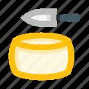 cheese, head, slice, knife, gastronomy