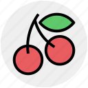 cherries, cherry, food, fresh, fruits, sour cherry icon