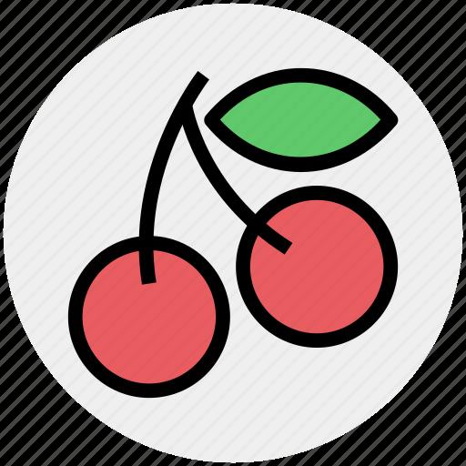 cherries, cherry, food, fresh, fruits, sour cherry icon