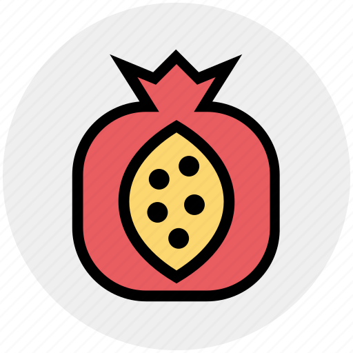 fruit, healthy, healthy food, organic, pomegranate, punica granatum, spherical fruit icon