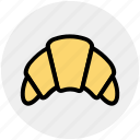 bakery, baking, breakfast, croissant, dessert, food, sausage icon