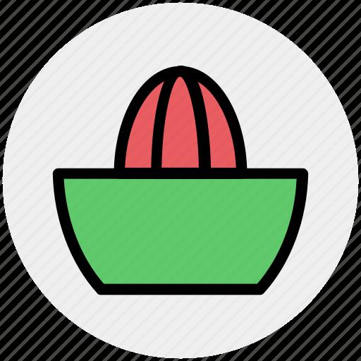 bowl, citrus juices, kitchen, kitchenware, lemon, squeezer, utensil icon