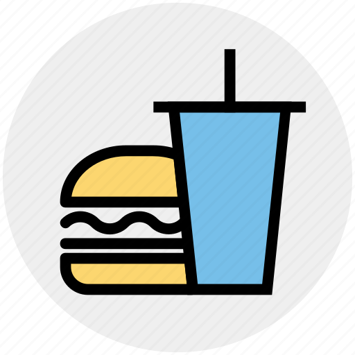 beverage, breakfast, burger, coke, drink, drink and burger, food icon