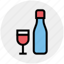 alcohol, bottle, bottle and glass, drinking, glass, water, wine icon