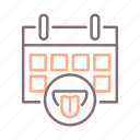 date, mouth, scheduled, tasting icon