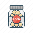 bowl, eat, food, jar, meal icon