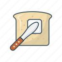 bread, breakfast, butter, food, knife icon