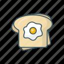 bread, breakfast, egg, food, omelette icon