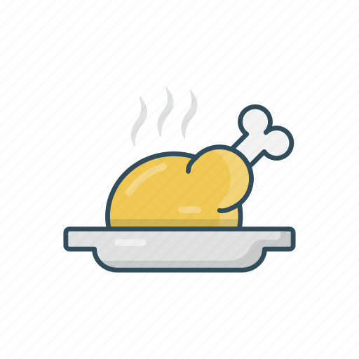 chicken, dish, hot, meal, plate icon