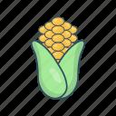 maize, vegetable, corn, eat, pop icon
