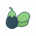 eat, eggplant, food, leaf, vegetable icon