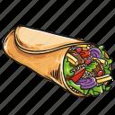 burrito, cuisine, meal, tortilla icon