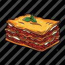 bolognese, lasagna, mozzarella, pasta icon