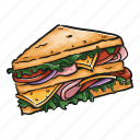 bread, ham, lettuce, sandwich icon