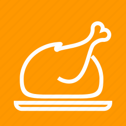 crispy, dinner, food, full chicken, meal, roast icon
