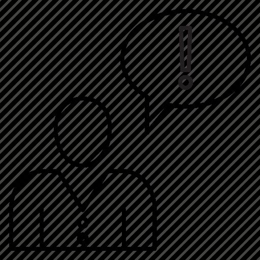 bubble, employee, error, exclamation, user icon