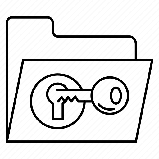 document, files, folder, key, lock icon