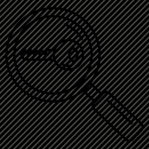 glass, key, lock, magnifier, search icon