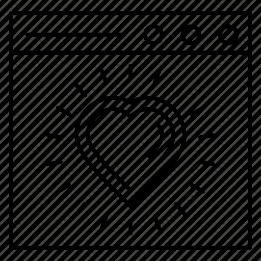 browser, heart, internet, like, webpage icon