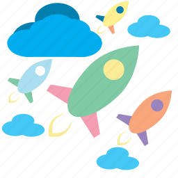 aliens, cartoon, fly, launch, rockets, sky, space icon