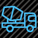 contruction, mixer, molen, transportation, truck icon