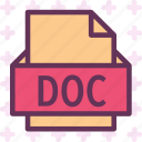 doc, extension, file, folder, tag icon