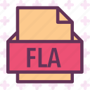 extension, file, fla, folder, tag icon