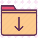 extension, file, folder, folderdown, tag icon