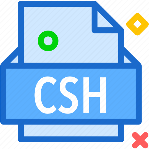 csh, extension, file, folder, tag icon