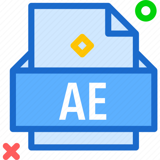 ae, extension, file, folder, tag icon