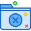 extension, file, folder, foldercancel, tag icon
