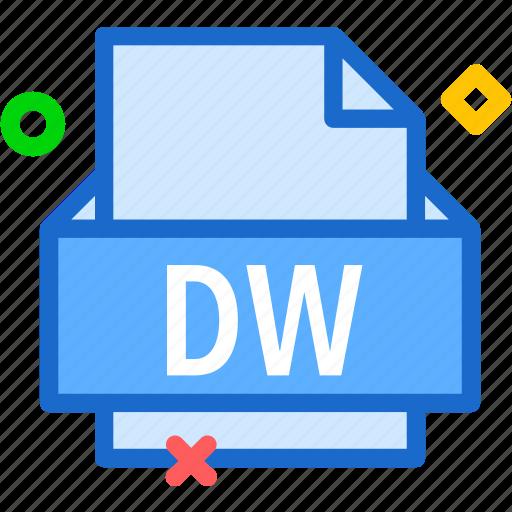 dw, extension, file, folder, tag icon