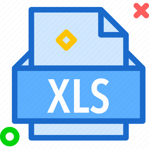 extension, file, folder, tag, xls icon