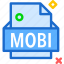 extension, file, folder, mobi, tag icon