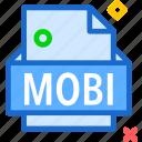 extension, file, folder, mobi, tag icon