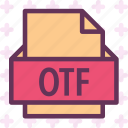 extension, file, folder, otf, tag icon