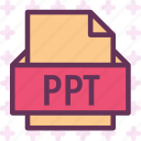 extension, file, folder, ppt, tag icon