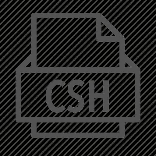 adobe, csh, extension, file, photoshop icon