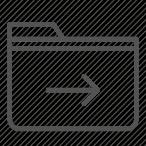 arrow, computer, folder, move, pc, right icon