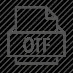 extension, file, opentype, otf icon