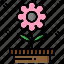 botanical, date, flower, gardening, time, wait icon