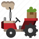 agriculture, bulldozer, farming, gardening, side, tractor icon