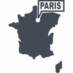 country, france, map of france, paris icon