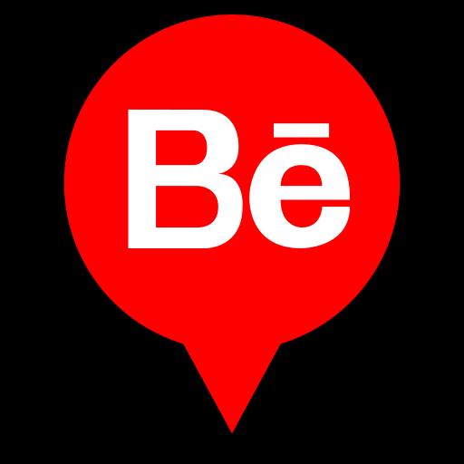behance, logo, pin icon